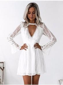 15a8a2eefb1 Белое платье с рукавами LSP-05624